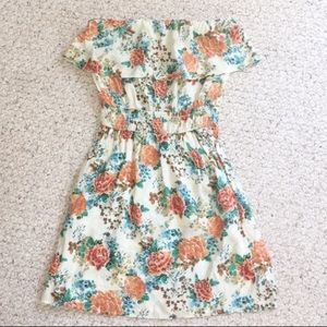 Strapless Floral Dress W/ Pockets Size Large